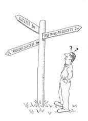 Business success cartoon signpost