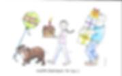 Mel Barren original happy birthday cartoon card of British bulldog, girl and dad