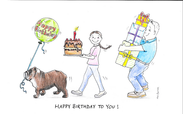 Mel Barren original happy birthday cartoon card of British bulldog, girl and dad