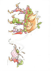 Christmas Santa's elves carrying turkey lunch