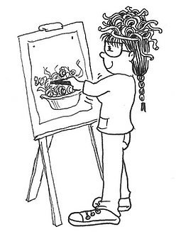 Cartoon of Mel Barren drawing spaghetti at an easel