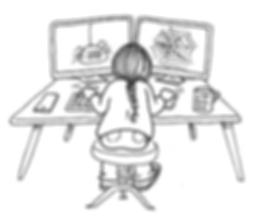Cartoon of Mel Barren web designer 2 computers spider and web