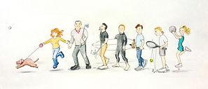 Sporty family with cockapoo dog, funny cartoon by Mel Barren