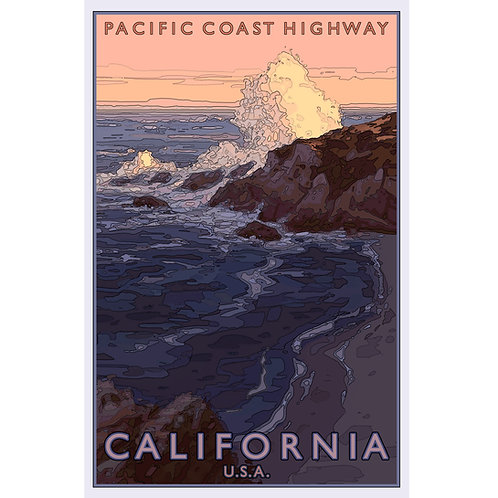Pacific Coast Highway 2 - 11x17 woodblock