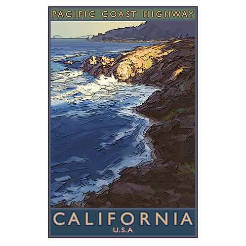 Pacific Coast Highway 1 - 11x17 woodblock