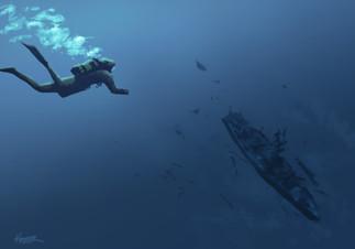 Destroyed Warship Sketch