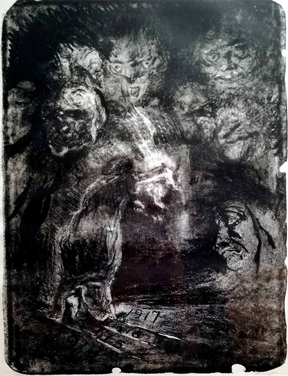 """This lithography depicting a woman holding a light toward darkness was created by Max Slegovt and printed in 1917. It is titled """"The March into the Unknown"""" and it is on display at the New Walk Museum, in Leicester."""