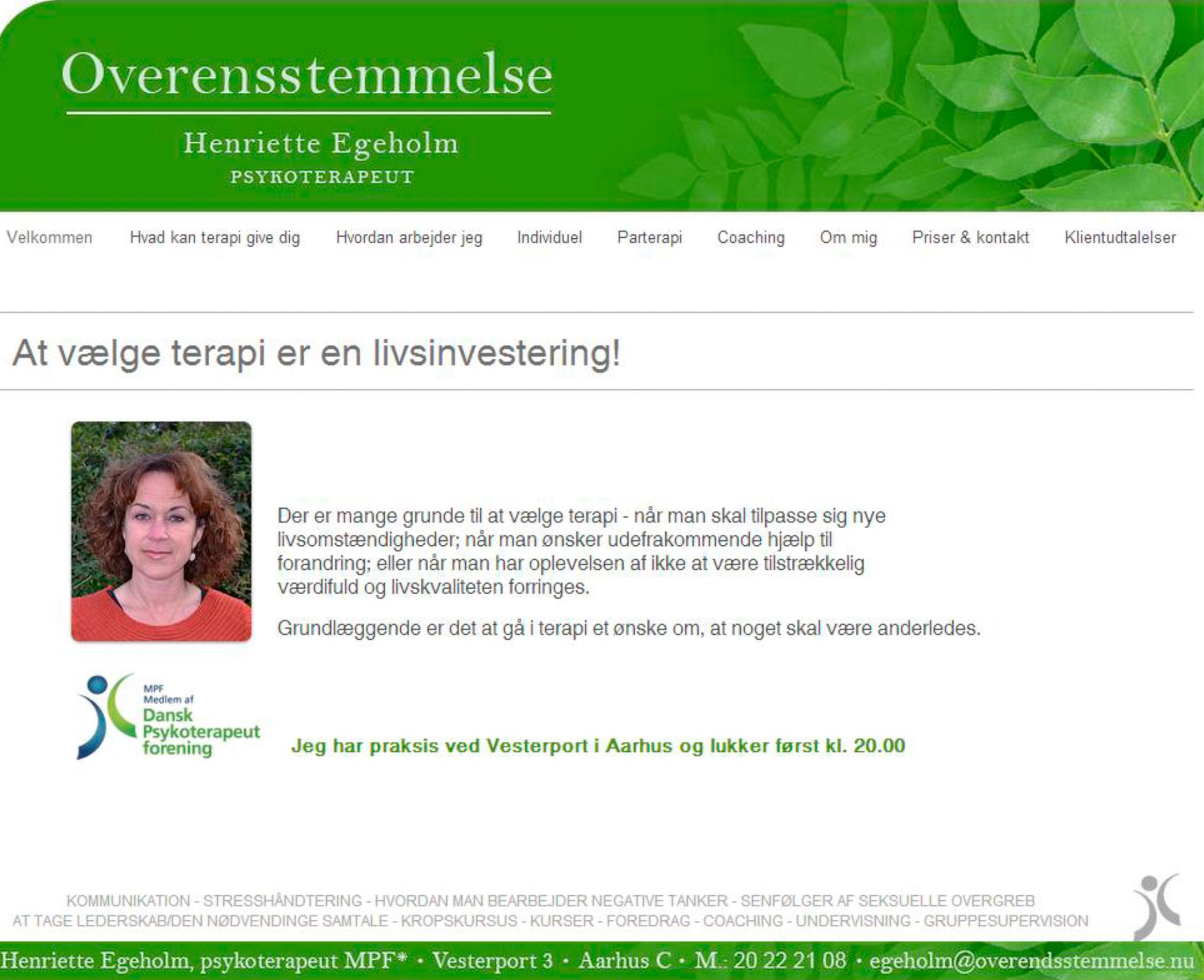 Psykoterapeut Henriette Egeholm