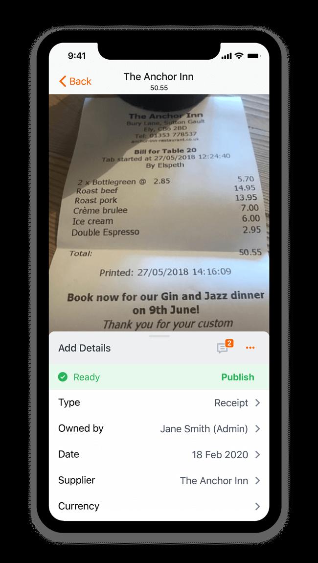 Receipt Bank app on a cellphone