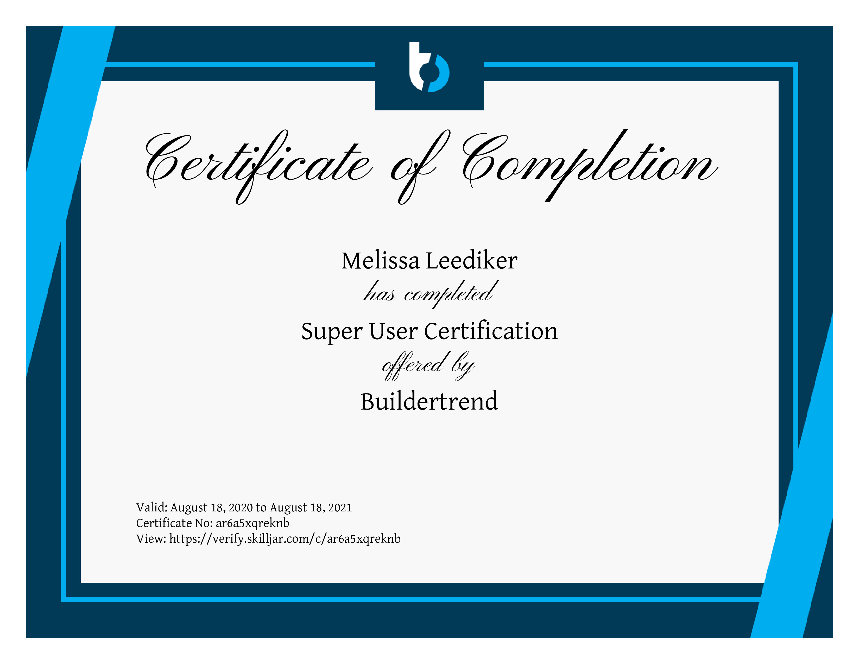 BuilderTrend SuperUser Certified