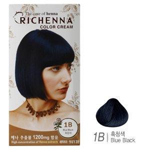 [리체나] 컬러 크림 1B 흑청색 염색약