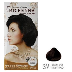 [리체나] 컬러 크림 3N 어두운갈색 염색약