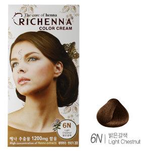 [리체나] 컬러 크림 6N 밝은갈색 염색약