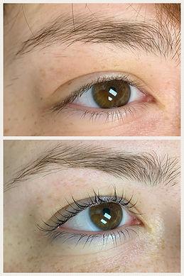 lash lift, lash tint and brow wax before and after