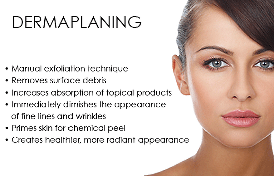 dermaplaning of peach fuzz and dead skin