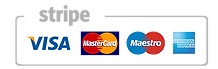 Ways to pay, Stripe, Visa, Master Card, Maestro and American Express