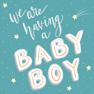 digital baby announcement, designed and lettered