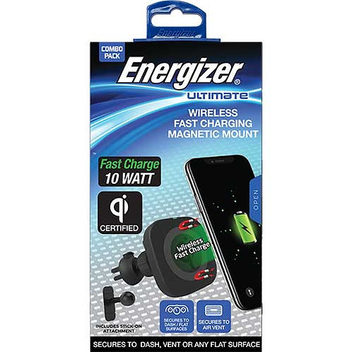 Energizer® QI Wireless Charging Magnetic Mount, 3 IN 1: Pad, Vent & Stick-On