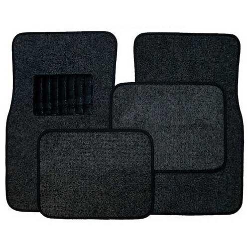 Carpet Floor Mat, Black, 4 Piece Set (Fabric)