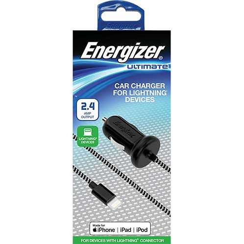 Energizer® Dedicated Car Charger w/ 4ft Nylon Braided Lightning Cable, 2.4 Amp