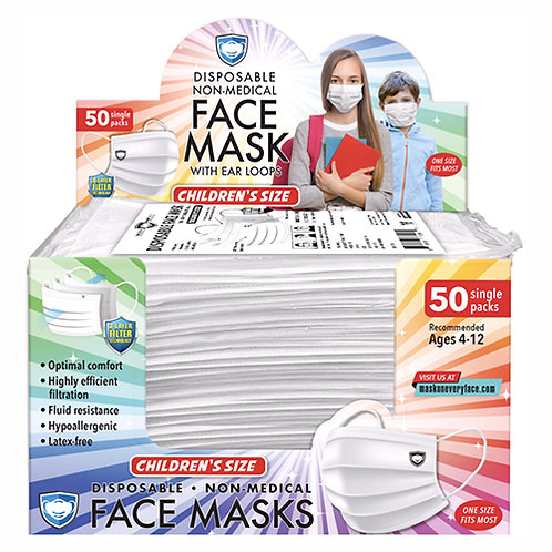 Disposable 3-Ply Face Mask, Individually Wrapped, Kid Size, 50/BX