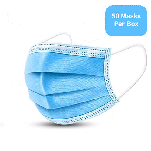 W.B. Mason Co. Disposable Face Mask, 3-Ply, 50/BX