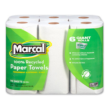 Marcal® 100% Recycled Giant Roll Paper Towel, White, 2-Ply, 140 Sheets/RL, 6 Rol
