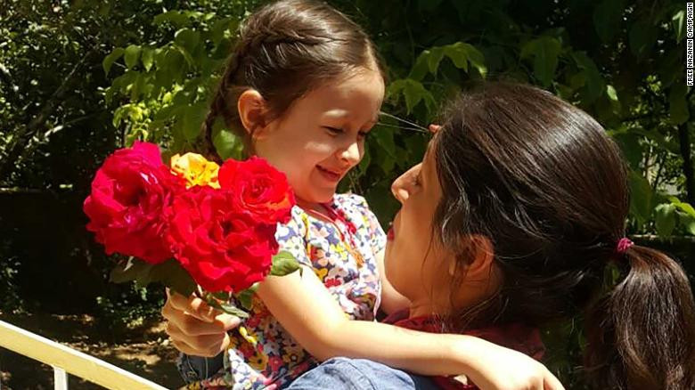 Nazanin Zagahri-Ratcliffe, seen in an image released by the Free Nazanin campaign, on furlough release from Evin prison.