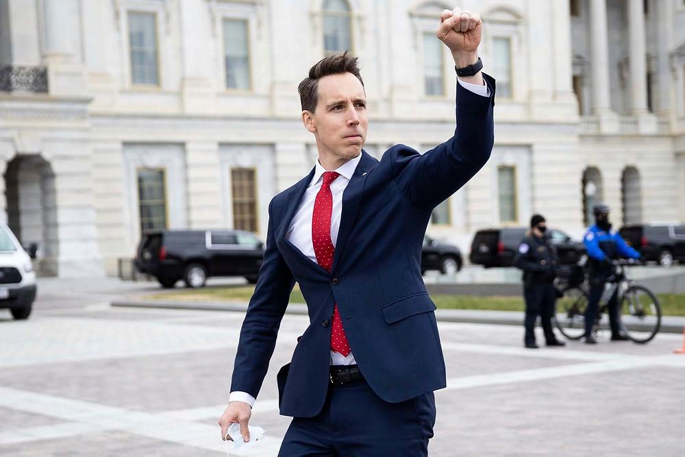 Missouri Senator Josh Hawley outside of the Capitol