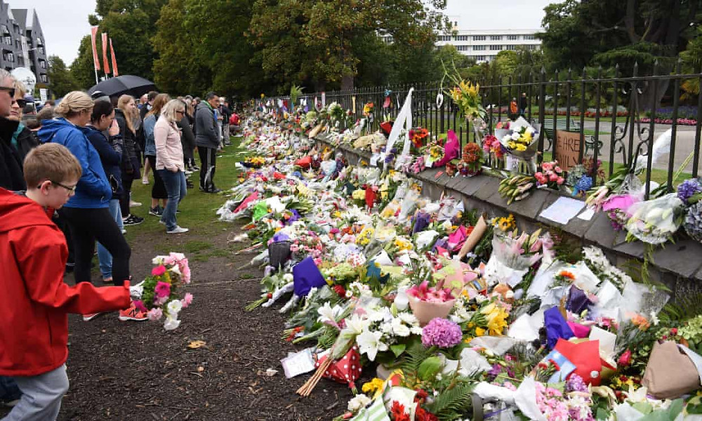 Flowers being laid in tribute after the attack