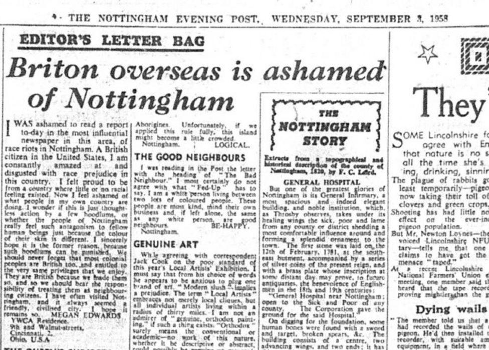 Briton overseas is ashamed of Nottingham