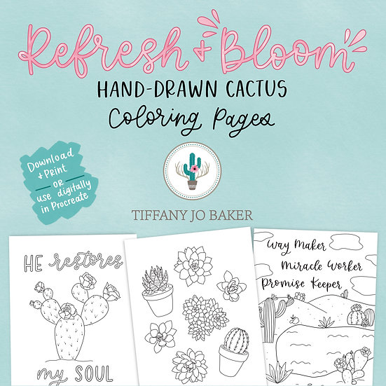 Refresh+Bloom Hand-Drawn Cactus Coloring Pages