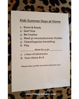 Kids summer days @Home list