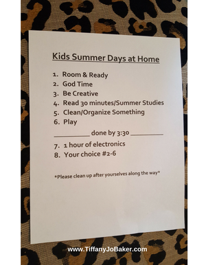Kids summer days @Home list