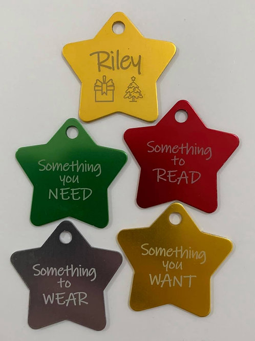 Christmas Star Tags - Set of 4
