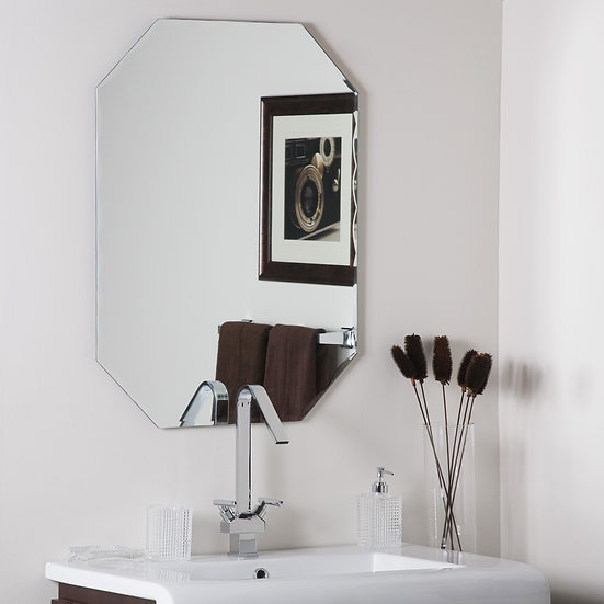 Frameless Octagon Scallop Beveled Mirror