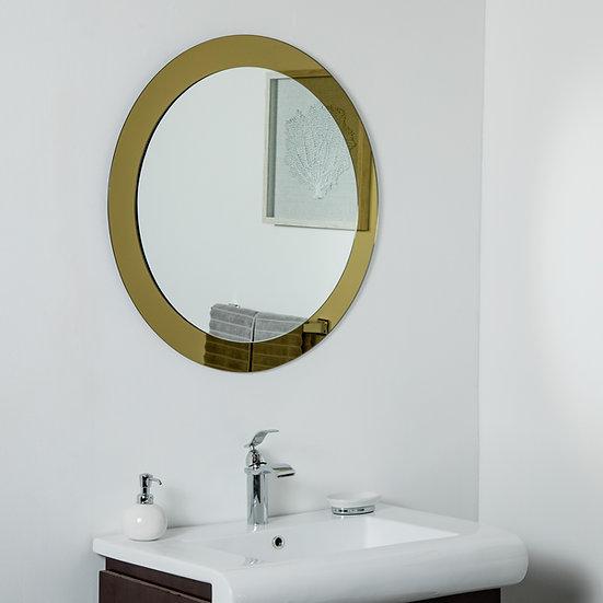 Golden Sol Round Frameless Mirror 30in Wall Mirror