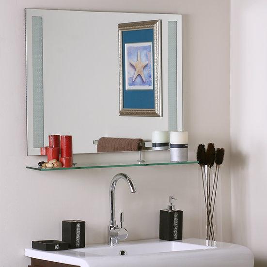Frameless Amyrilla Mirror with shelf