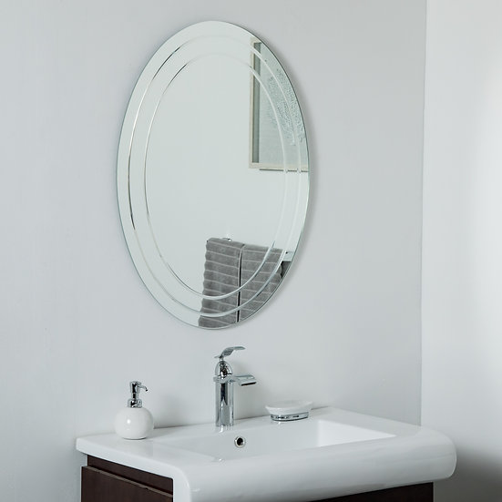 Tate Frameless Oval Mirror 31.5 x 23.6in Wall Mirror