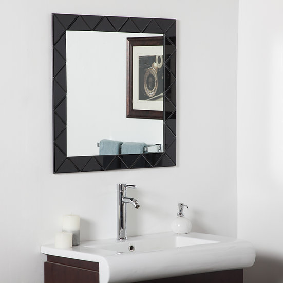 Luciano Frameless Wall Mirror (Black)