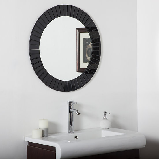 The Glow Modern Frameless Wall Mirror (Black)