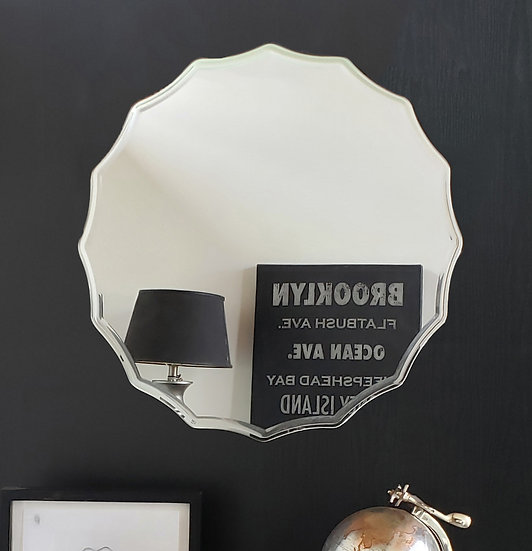 27 in. Round Ridge Frameless Wall Mirror with Engraved Edge