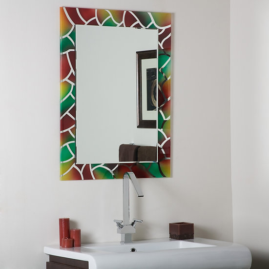 Mosaic Frameless Bathroom Mirrror with Bevel Edge