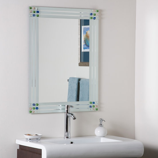 Bejeweled Frameless Bathroom Mirror