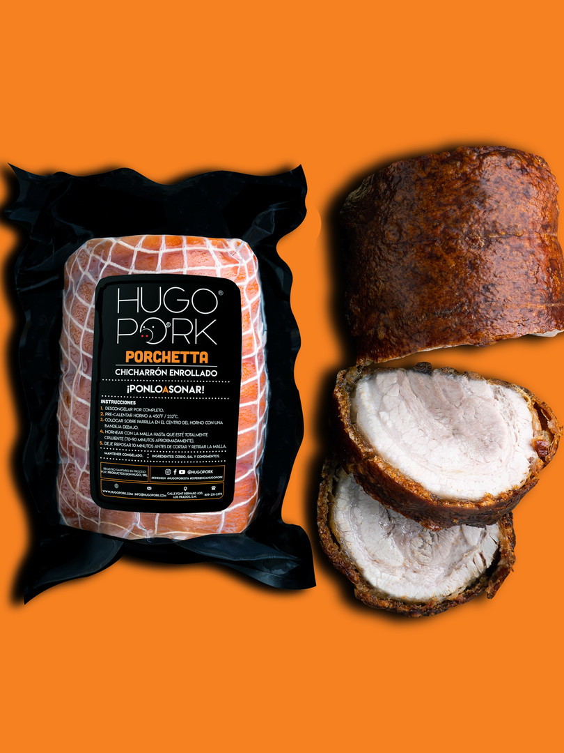 PORCHETTA HUGO PORK = Chicharrón enrollado, congelado, pre-cocido y sazonado que preparas en casa en 60-90 minutos. Lo horneas, air fryer, fríes, o bbq #ponloasonar
