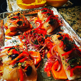 #bakedcod #redpeppers #blackolives #spaghettisquash
