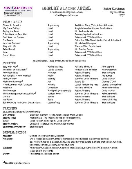 Shelby Alayne Antel Film Resume (sept. 2