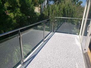 Patio tiles and railing build up