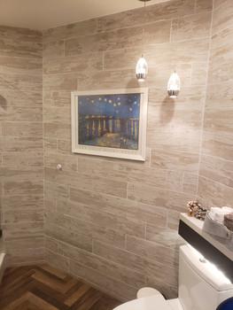 Light fixtures, bathroom wall tiles