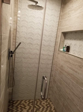 tiles and shower head